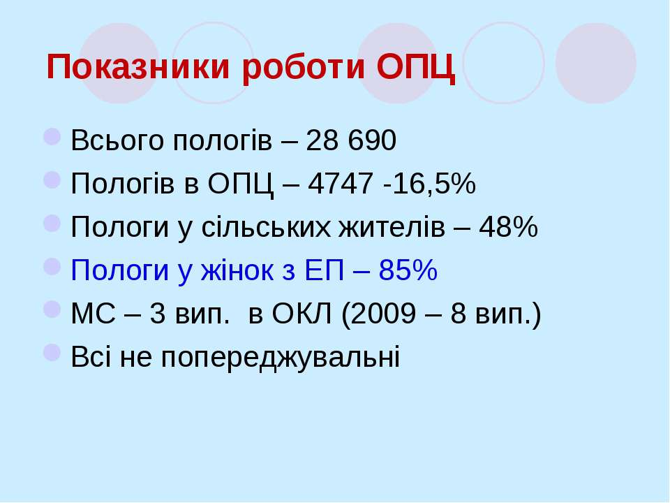 Показники роботи ОПЦ Всього пологів – 28 690 Пологів в ОПЦ – 4747 -16,5% Поло...