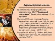 """Харчова промисловість Промисловість району представлена підприємством СВАТ """"І..."""
