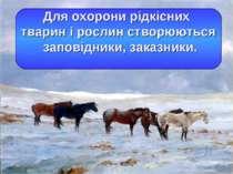 Для охорони рідкісних тварин і рослин створюються заповідники, заказники.