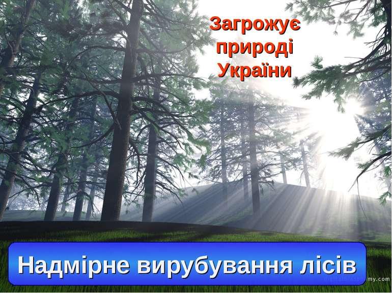 Загрожує природі України Надмірне вирубування лісів
