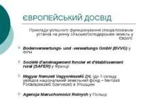 ЄВРОПЕЙСЬКИЙ ДОСВІД Приклади успішного функціонування спеціалізованих установ...