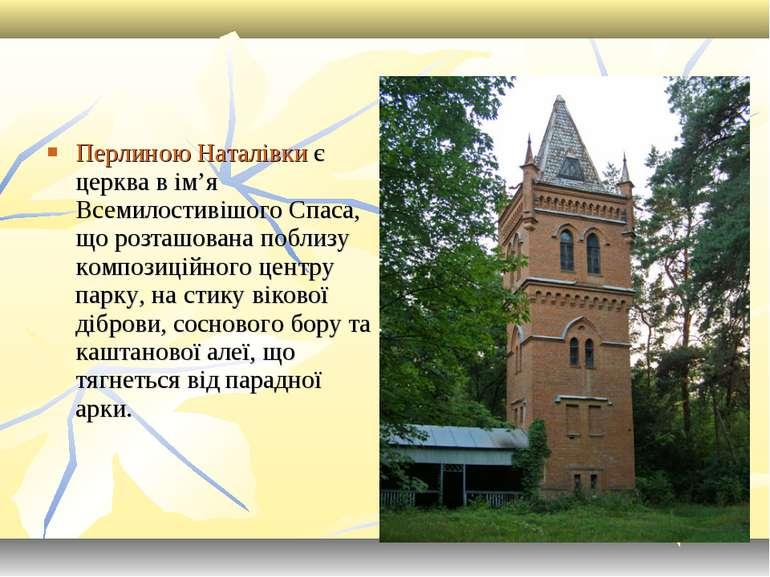 Перлиною Наталівки є церква в ім'я Всемилостивішого Спаса, що розташована поб...