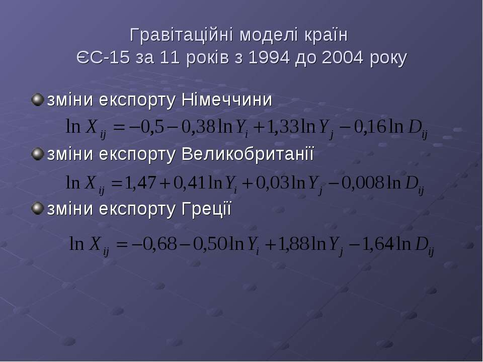Гравітаційні моделі країн ЄС-15 за 11 років з 1994 до 2004 року зміни експорт...