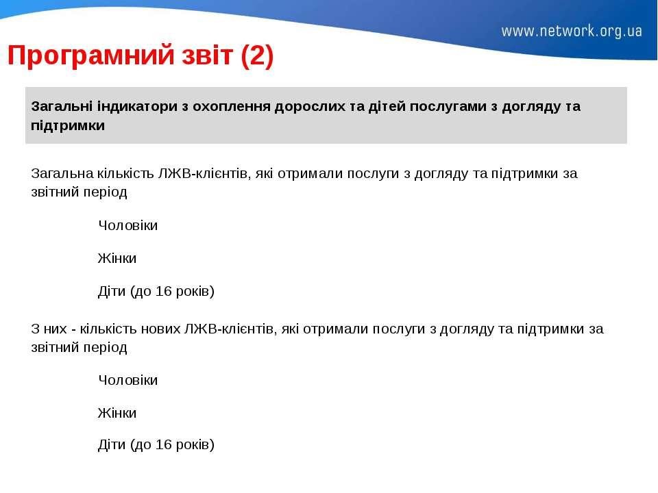 Програмний звіт (2) Загальні індикатори з охоплення дорослих та дітей послуга...