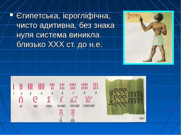 Єгипетська, ієрогліфічна, чисто адитивна, без знака нуля система виникла близ...