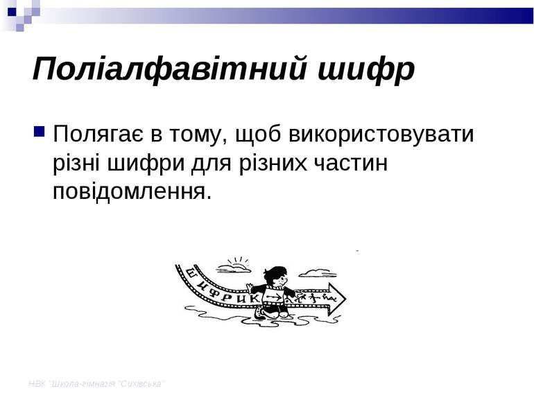 """НВК """"Школа-гімназія """"Сихівська"""" Поліалфавітний шифр Полягає в тому, щоб викор..."""