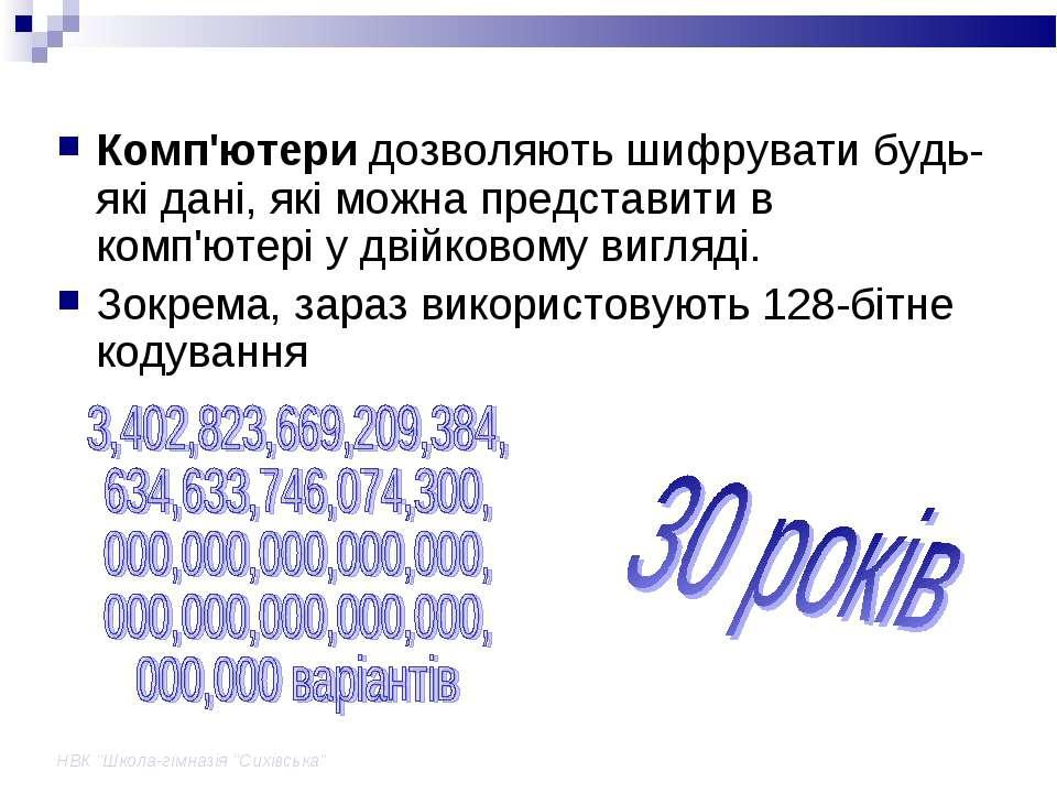 """НВК """"Школа-гімназія """"Сихівська"""" Комп'ютери дозволяють шифрувати будь-які дані..."""