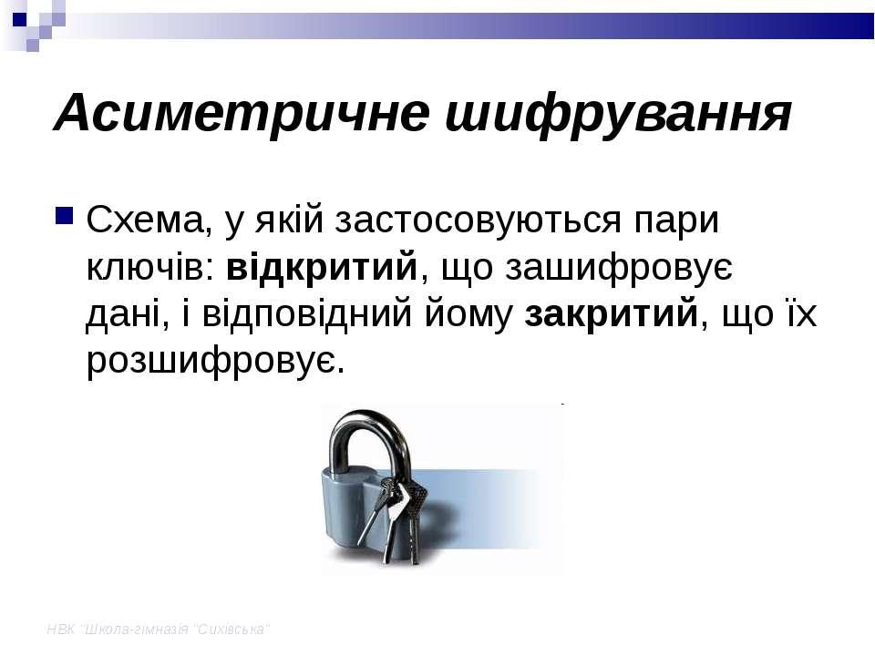 """НВК """"Школа-гімназія """"Сихівська"""" Асиметричне шифрування Схема, у якій застосов..."""