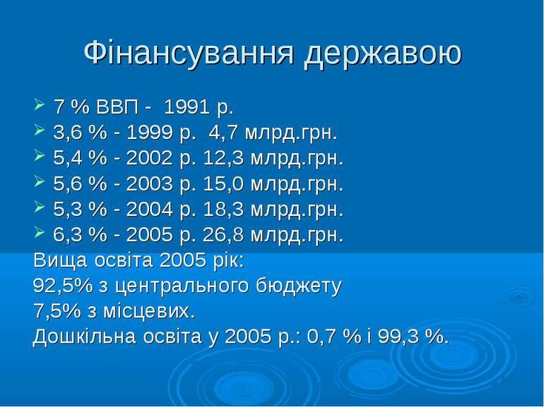 Фінансування державою 7 % ВВП - 1991 р. 3,6 % - 1999 р. 4,7 млрд.грн. 5,4 % -...