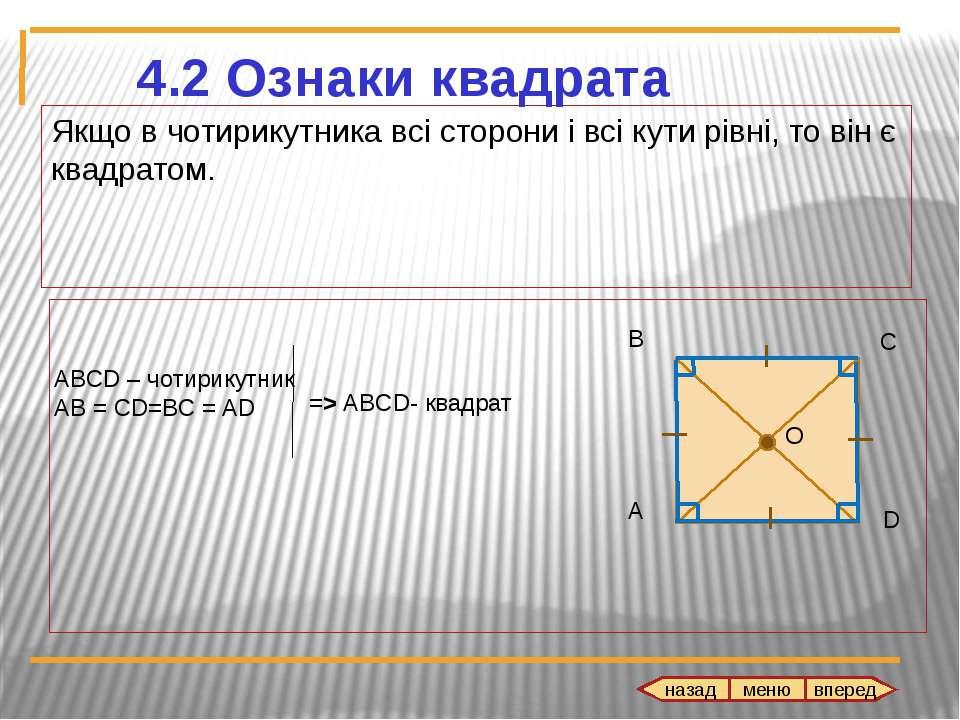 Якщо в чотирикутника всі сторони і всі кути рівні, то він є квадратом.
