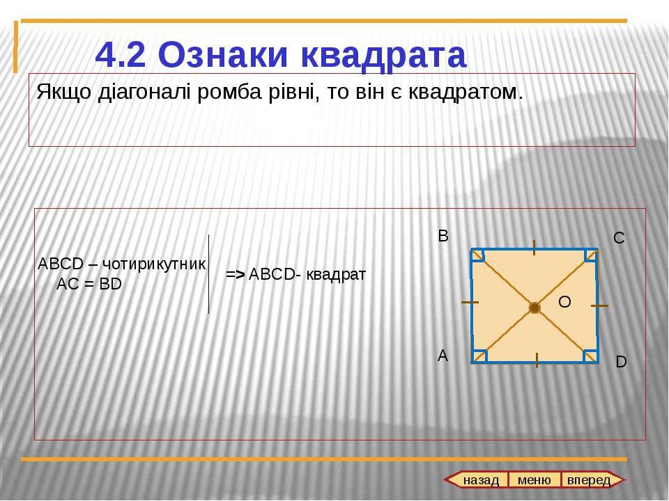Якщо діагоналі ромба рівні, то він є квадратом.