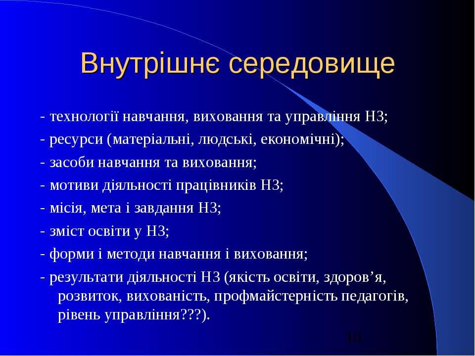 Внутрішнє середовище - технології навчання, виховання та управління НЗ; - рес...