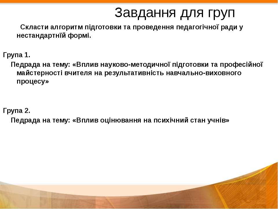 Завдання для груп Скласти алгоритм підготовки та проведення педагогічної ради...