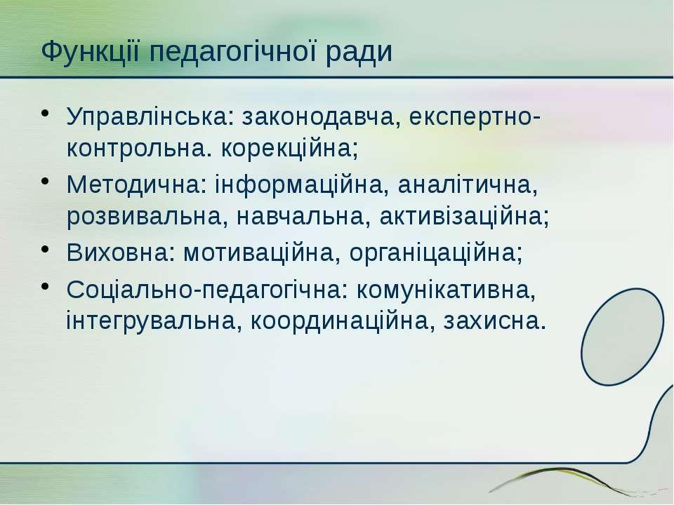 Функції педагогічної ради Управлінська: законодавча, експертно-контрольна. ко...