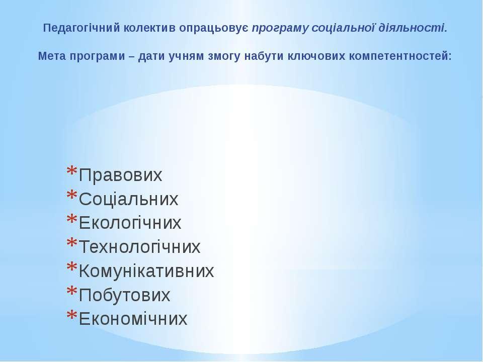 Педагогічний колектив опрацьовує програму соціальної діяльності. Мета програм...