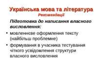 Українська мова та література Рекомендації Підготовка до написання власного в...