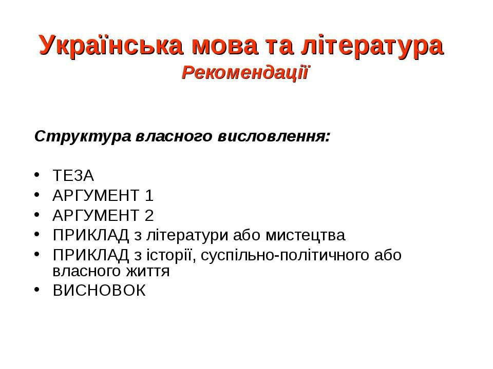 Українська мова та література Рекомендації Структура власного висловлення: ТЕ...