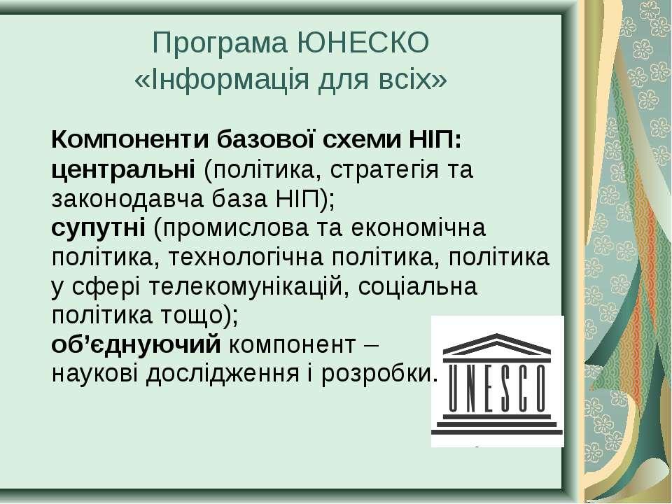 Компоненти базової схеми НІП: центральні (політика, стратегія та законодавча ...