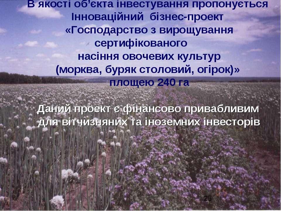 В якості об'єкта інвестування пропонується Інноваційний бізнес-проект «Господ...
