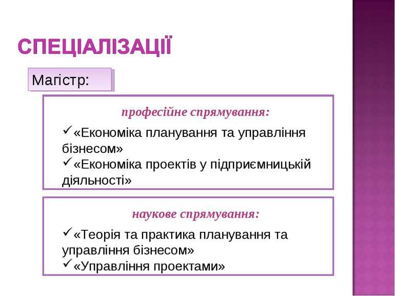 професійне спрямування: «Економіка планування та управління бізнесом» «Економ...