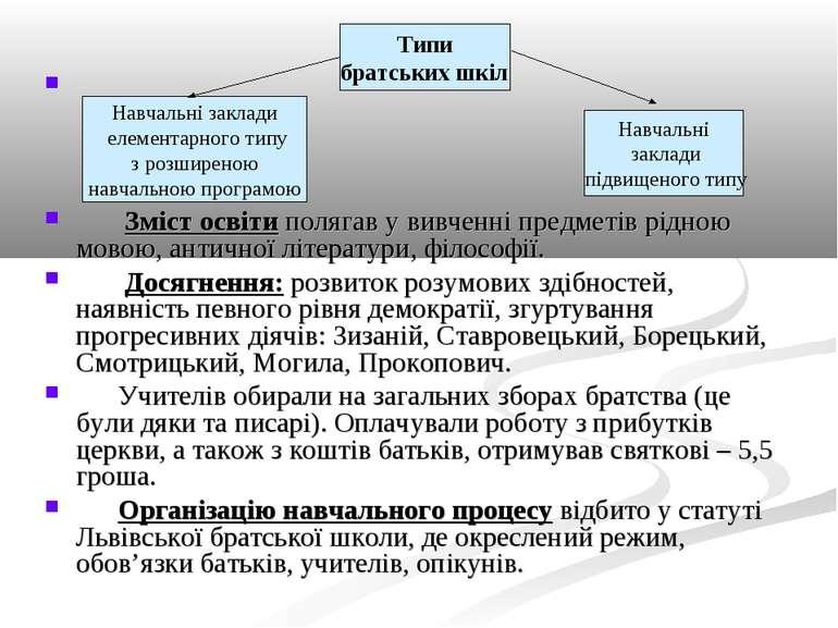 Зміст освіти полягав у вивченні предметів рідною мовою, античної літератури, ...