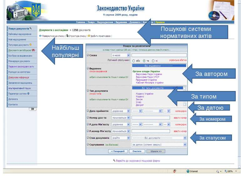 Пошукові системи нормативних актів За автором За типом За датою За номером За...