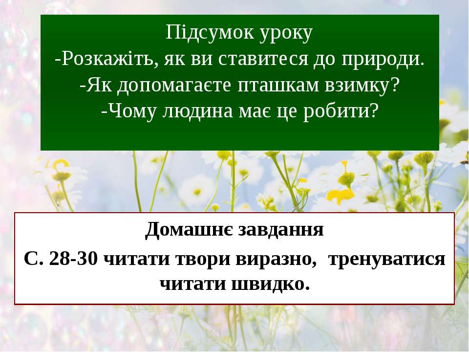 Підсумок уроку -Розкажіть, як ви ставитеся до природи. -Як допомагаєте пташка...