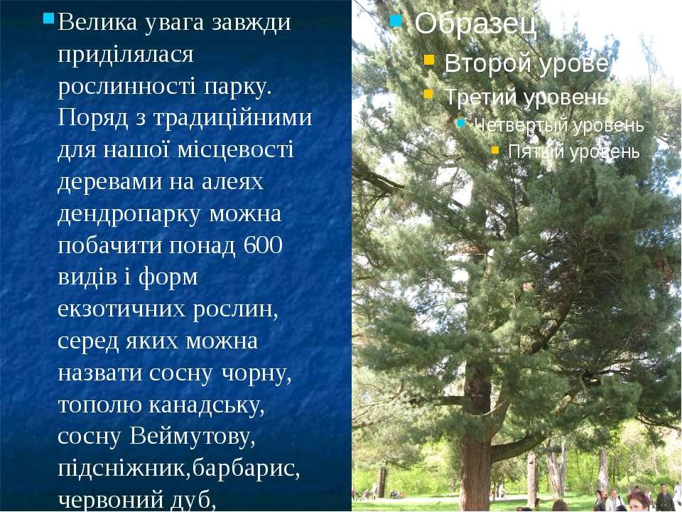 Велика увага завжди приділялася рослинності парку. Поряд з традиційними для н...