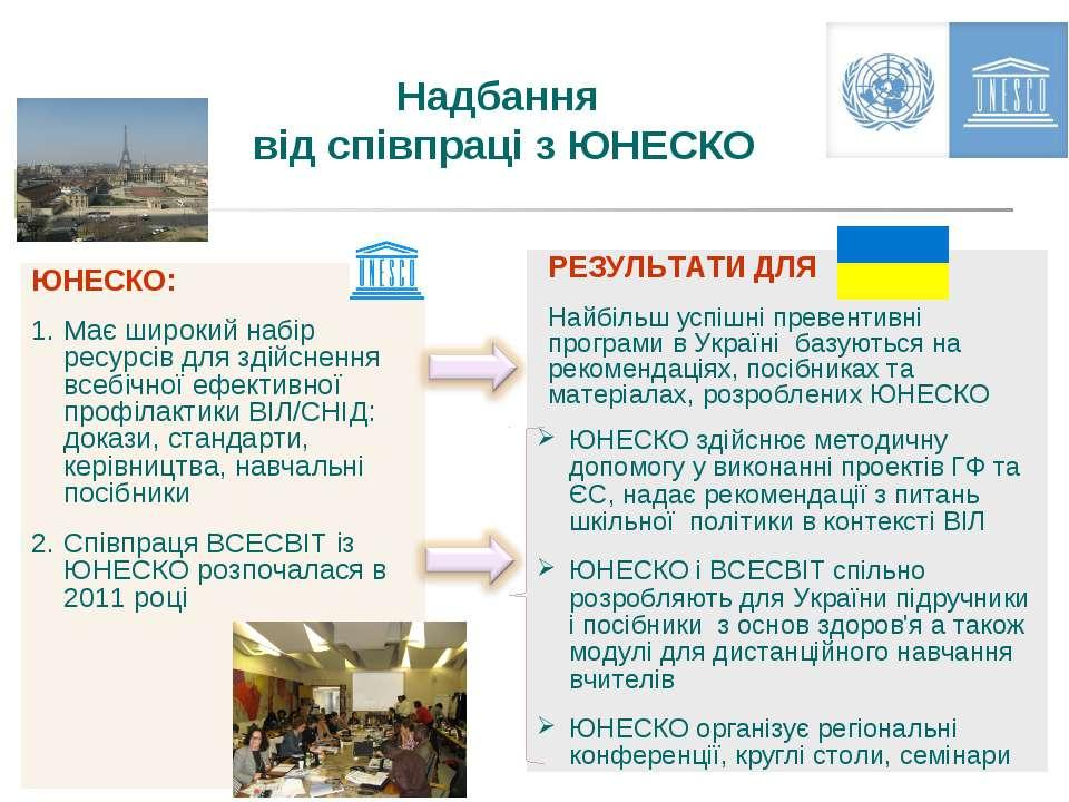Надбання від співпраці з ЮНЕСКО РЕЗУЛЬТАТИ ДЛЯ Найбільш успішні превентивні п...
