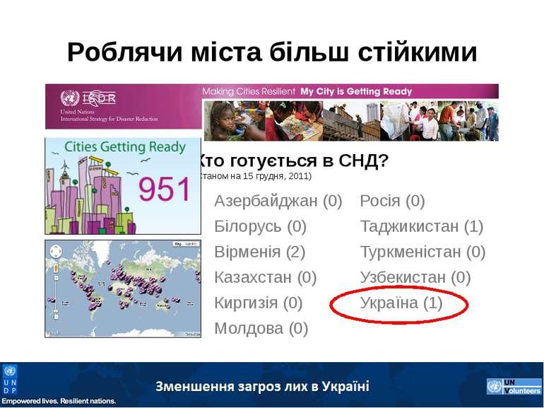 Роблячи міста більш стійкими Хто готується в СНД? (Станом на 15 грудня, 2011)...