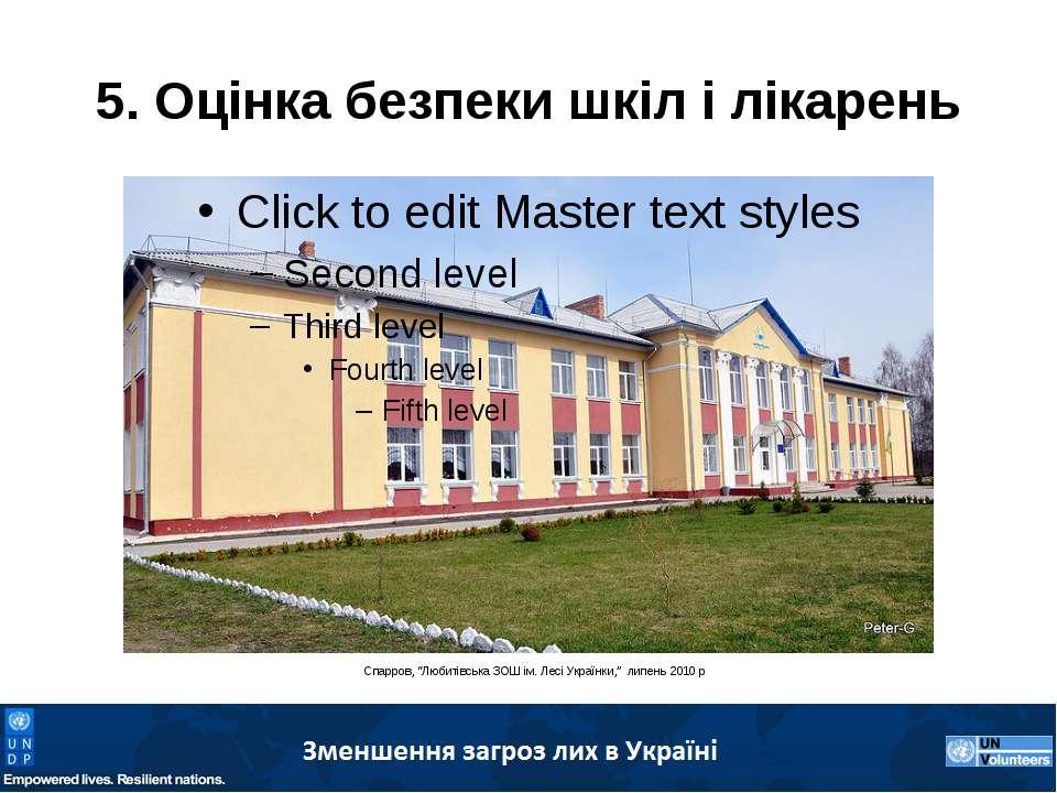 """5. Оцінка безпеки шкіл і лікарень Спарров, """"Любитівська ЗОШ ім. Лесі Українки..."""