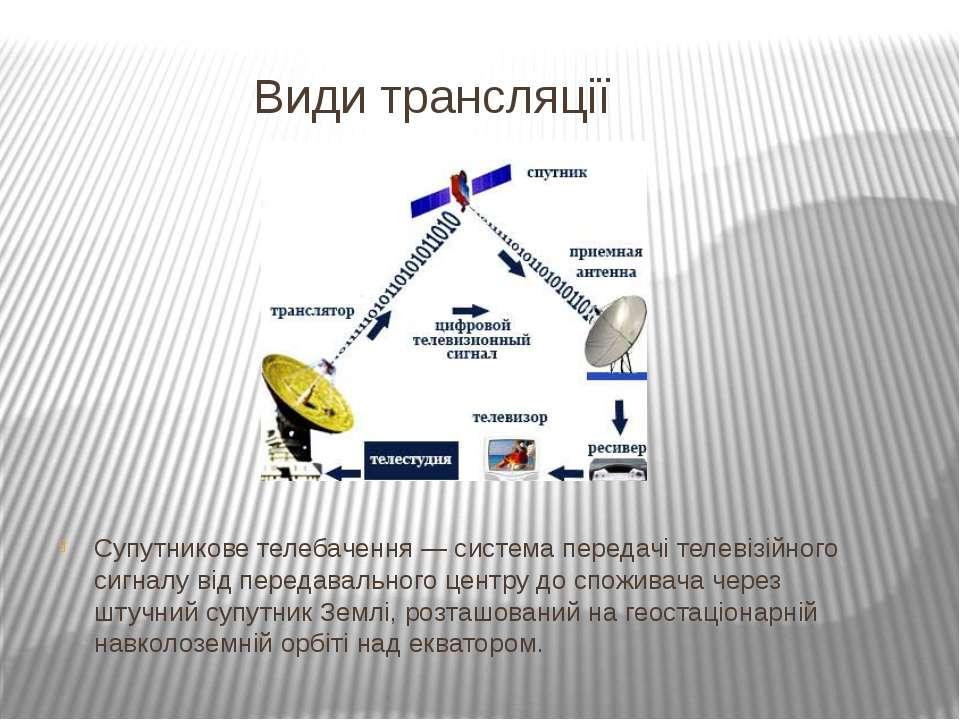 Види трансляції Супутникове телебачення — система передачі телевізійного сигн...