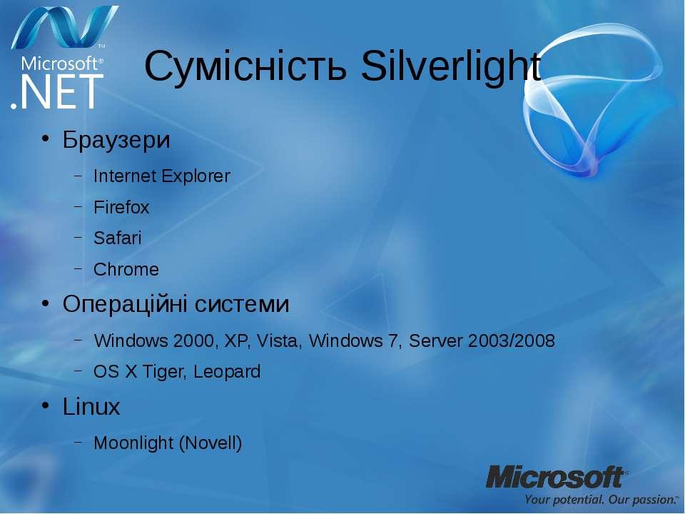 Сумісність Silverlight Браузери Internet Explorer Firefox Safari Chrome Опера...