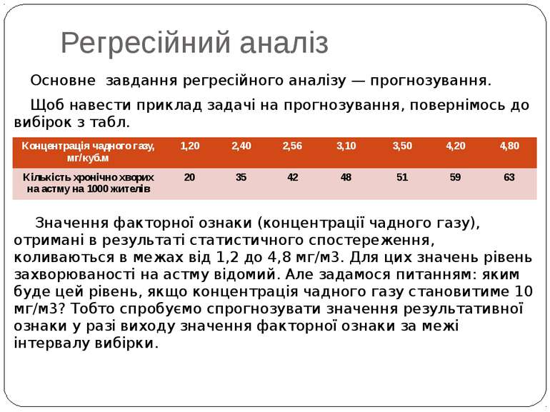 Регресійний аналіз Основне завдання регресійного аналізу — прогнозування. Щоб...