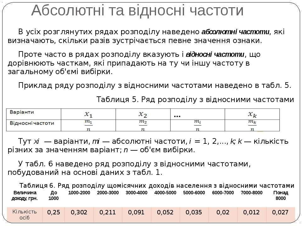 Абсолютні та відносні частоти В усіх розглянутих рядах розподілу наведено абс...