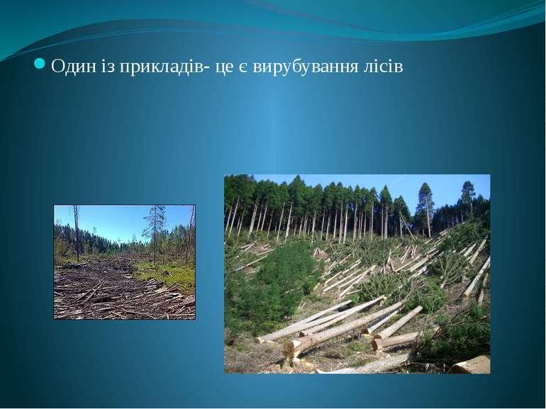 Один із прикладів- це є вирубування лісів Порушення біологічної рівноваги і б...