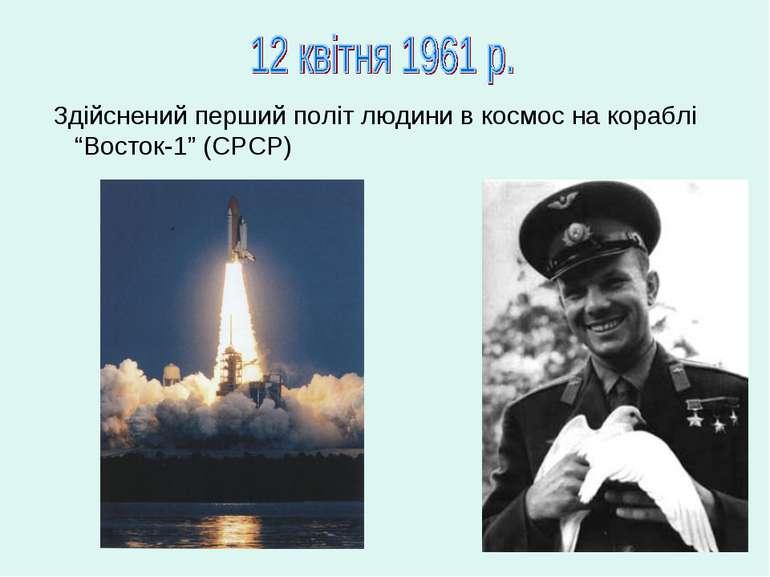"""Здійснений перший політ людини в космос на кораблі """"Восток-1"""" (СРСР)"""