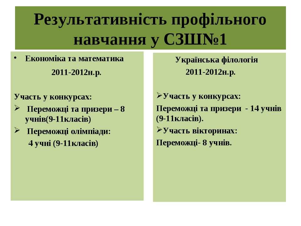 Результативність профільного навчання у СЗШ№1 Економіка та математика 2011-20...