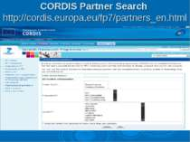 CORDIS Partner Search http://cordis.europa.eu/fp7/partners_en.html