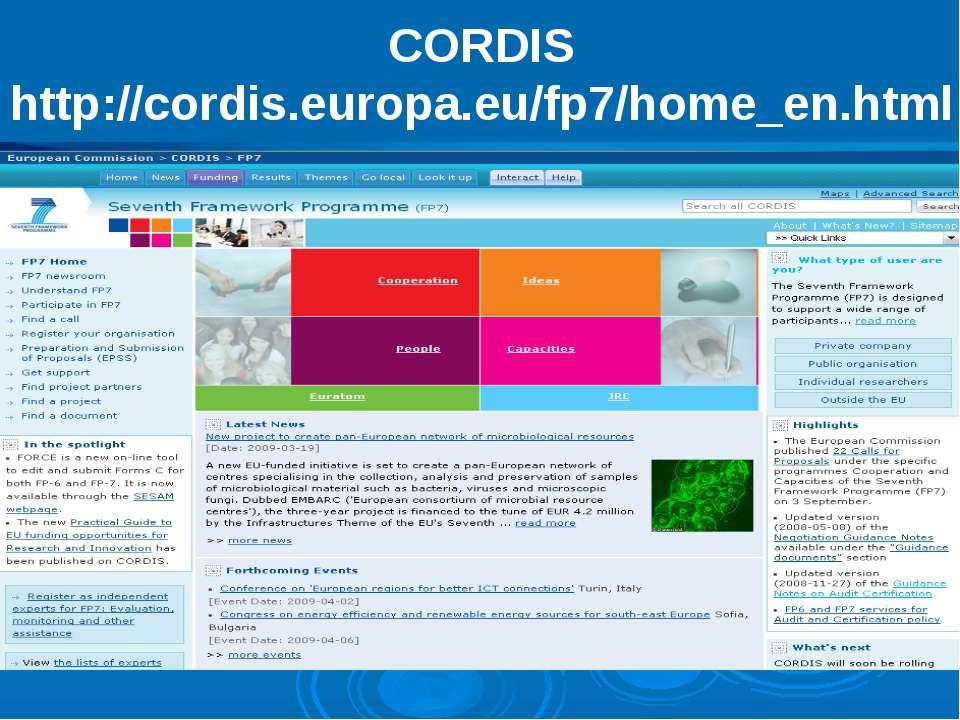 CORDIS http://cordis.europa.eu/fp7/home_en.html