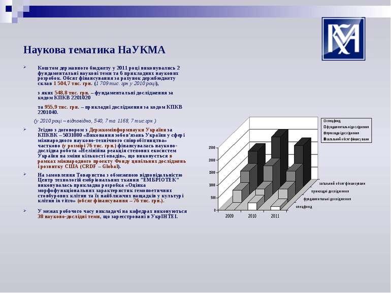 Наукова тематика НаУКМА Коштом державного бюджету у 2011 році виконувались 2 ...
