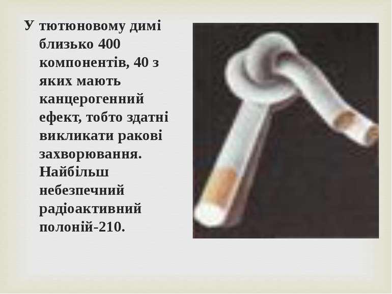 У тютюновому димі близько 400 компонентів, 40 з яких мають канцерогенний ефек...