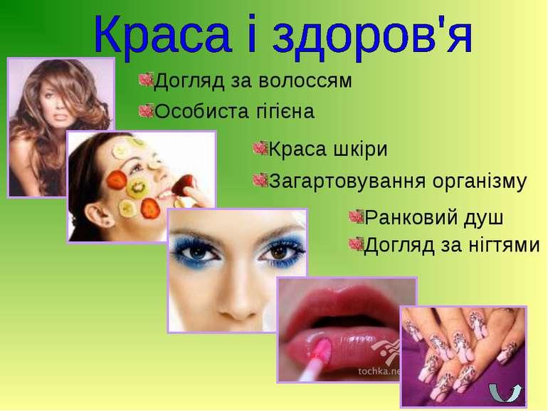 Особиста гігієна Ранковий душ Загартовування організму Догляд за волоссям Дог...