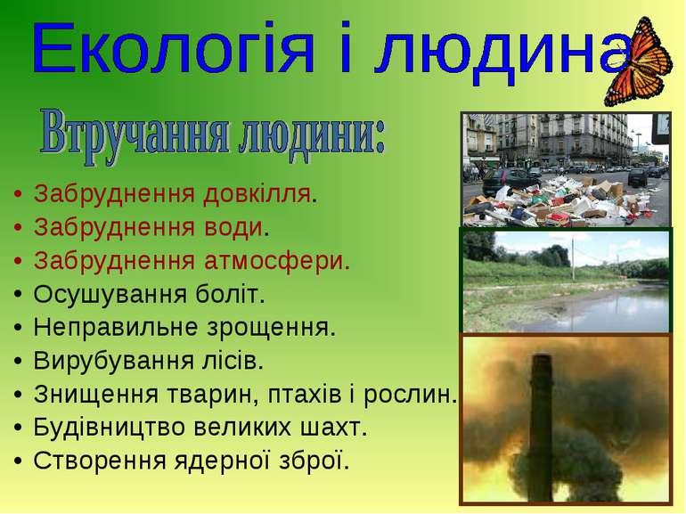 Забруднення довкілля. Забруднення води. Забруднення атмосфери. Осушування бол...