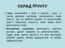 СКЛАД ҐРУНТУ Гази, основними з яких є кисень i азот, а також двоокис вуглецю,...