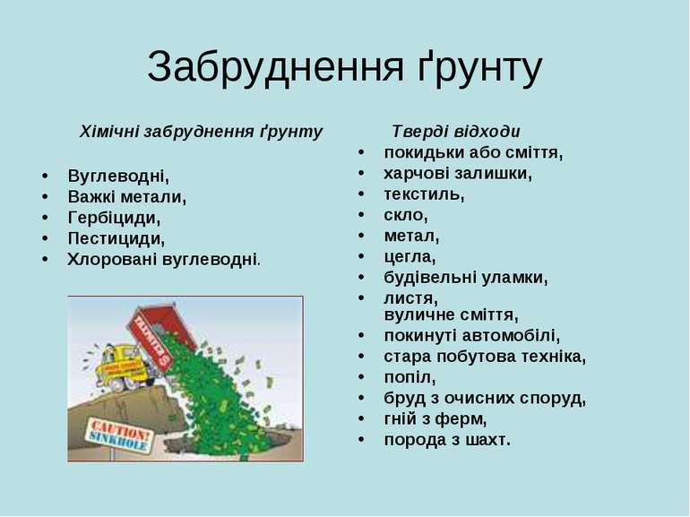 Забруднення ґрунту Хімічні забруднення ґрунту Вуглеводні, Важкі метали, Гербі...