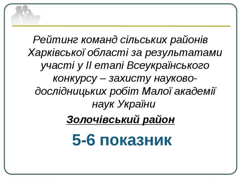 Рейтинг команд сільських районів Харківської області за результатами участі у...