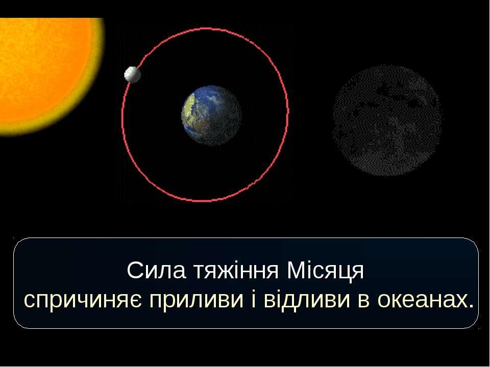 Cила тяжіння Місяця спричиняє приливи і відливи в океанах.