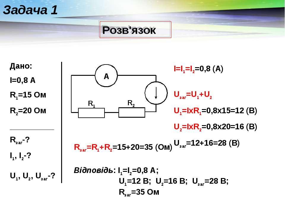 Розв'язок Задача 1 Дано: I=0,8 А R1=15 Ом R2=20 Ом __________ Rзаг-? I1, I2-?...
