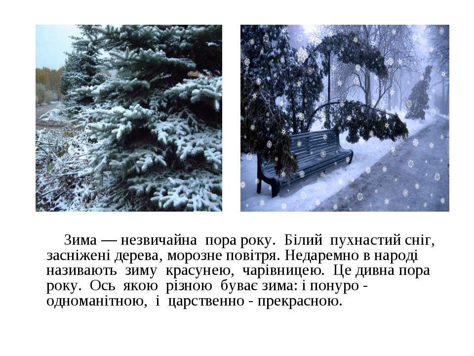 Зима — незвичайна пора року. Білий пухнастий сніг, засніжені дерева, морозне ...